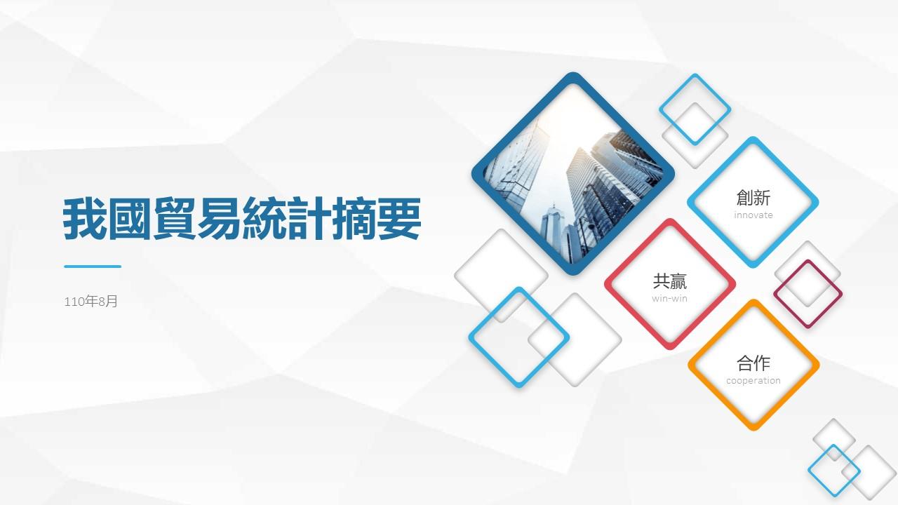 台湾景気:2021年8月の台湾の貿易に関する統計概要